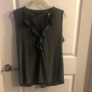 White House Black Market Large Green Top Ruffles